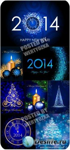 Рождественские векторные фоны 2014, куранты, золотая елка и свечи