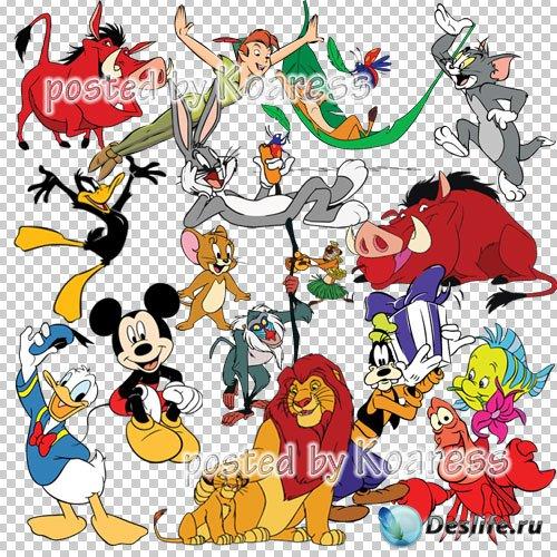Png клипарт на прозрачном фоне для фотошопа с героями мультфильмов Диснея