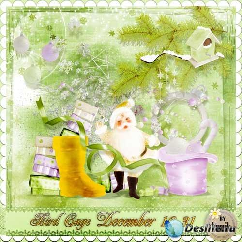 Зимний скрап-комплект - Bird cage december