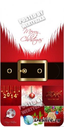Новогодние красные фоны - вектор