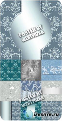 Винтажные векторные фоны с узорами и цветами