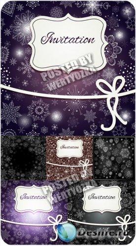 Рождественские векторные фоны с сверкающими снежинками