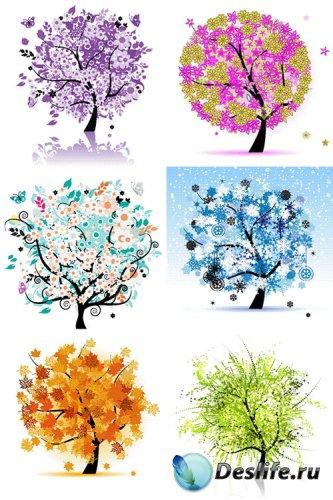 Нарисованные деревья в векторе