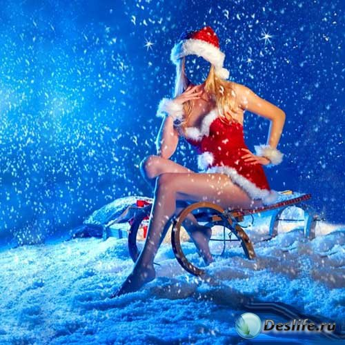 Девушка в костюме снегурочки на санях - женский шаблон