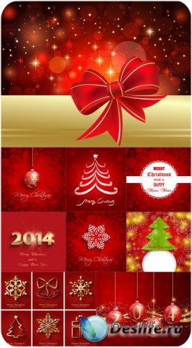 Елка, шары, снежинки на векторных рождественских фонах