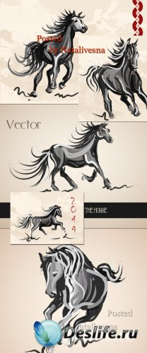 Символ года 2014 в Векторе – Красивые, гордые лошадки