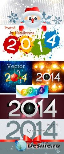 Новогодние векторные фоны с надписями 2014