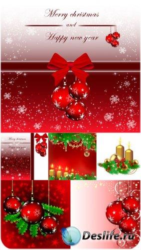Рождественские  красные шары, векторные фоны