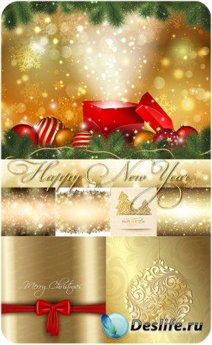 Золотые рождественские фоны - вектор
