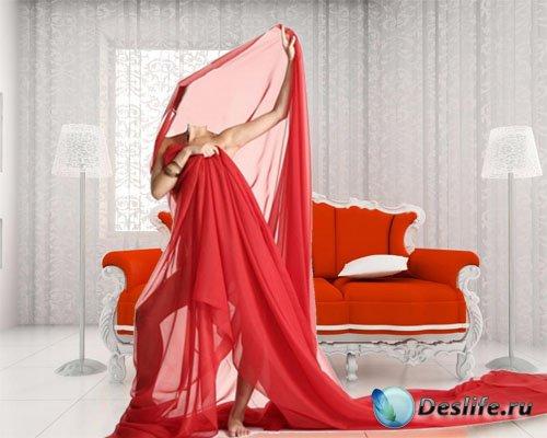 Костюм для фотошопа - Девушка обмотана красной тканью