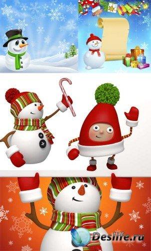 Рождественские снеговики - (растровый клипарт)