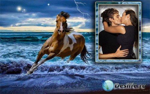 Рамка для фотошопа - Скачущая лошадь по морю