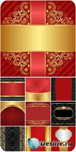 Золотые узоры, красные и черные фоны в векторе, винтаж