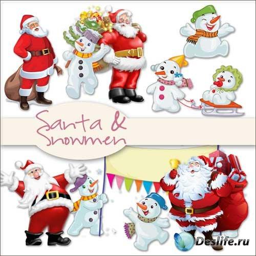 Новогодний скрап-комплект - Санта и снеговичок