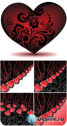 Сердце с цветочным узором на день Валентина - вектор