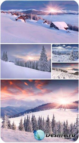 Зимние пейзажи, восход солнца, заснеженные елки - сток фото
