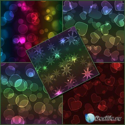 Фоны - разноцветные круги звезды и сердца