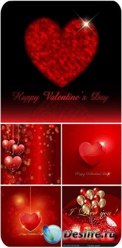 День святого Валентина в векторе, сверкающие сердечки