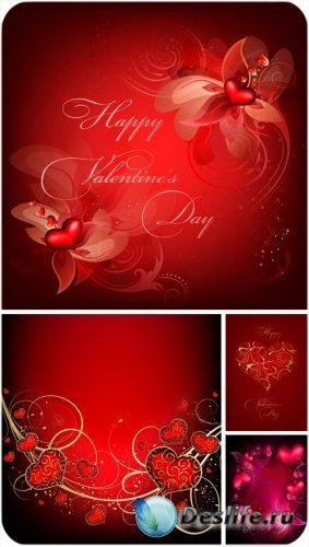 День святого Валентина в векторе, красные сердечки, цветы