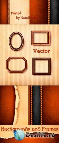 Декоративные  фоны в Векторе с рамками