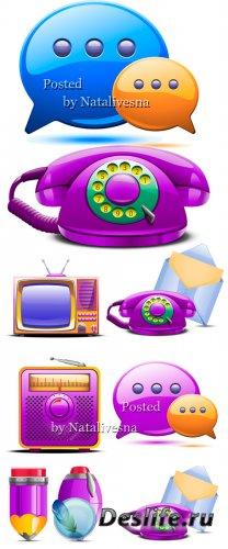 3D Векторные иконки  – Телефон, сообщения и телевизор
