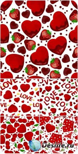 Векторные фоны с сердечками и фруктами на день святого Валентина