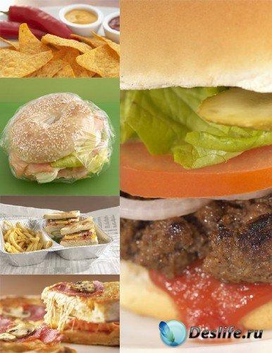 Фастфуд: гамбургер, бутерброд, пицца, хлопья, картошка фри и др.