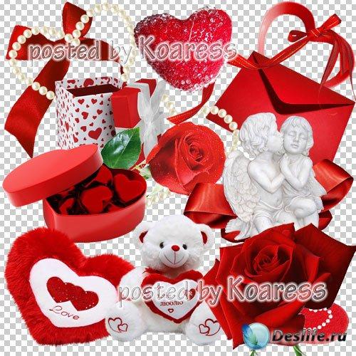 Png клипарт для фотошопа - ангелы, сердечки, красные розы, подарки, банты,  ...