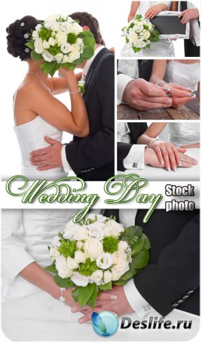 Свадьба, жених и невеста с букетом - сток фото
