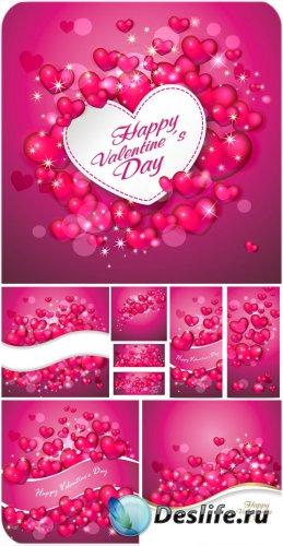 С днем святого Валентина, сердечки, розовые векторные фоны