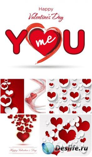 С днем святого валентина, красные и белые сердечки - вектор