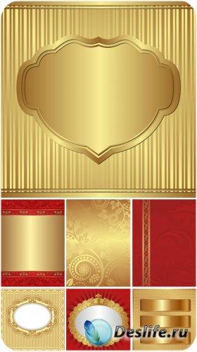Золотые и красные векторные фоны с узорами