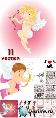 С днем святого Валентина, ангелочки в векторе