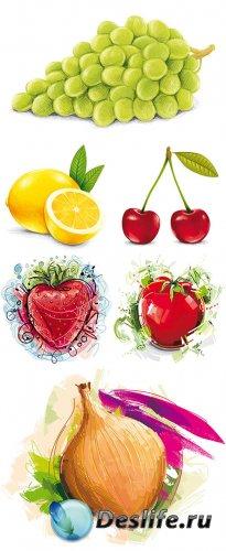 Векторный клипарт - Нарисованные фрукты и овощи