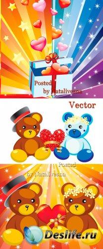 Векторные фоны с Медвежатами  и подарками