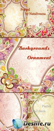 Векторные фоны с декоративными цветами