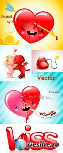 Векторные романтичные фоны с сердечками и поцелуями