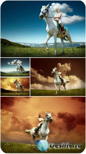 Девушка на лошади, красивые пейзажи - сток фото