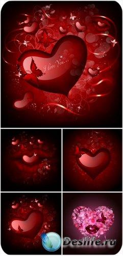 Сердечки и бабочки, валентинов день в векторе