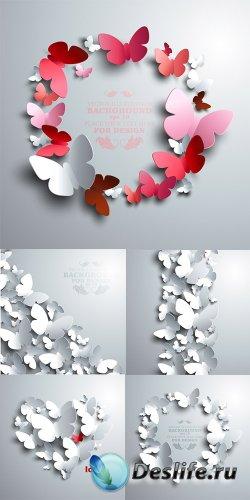 Векторные бэкграунды с бабочками