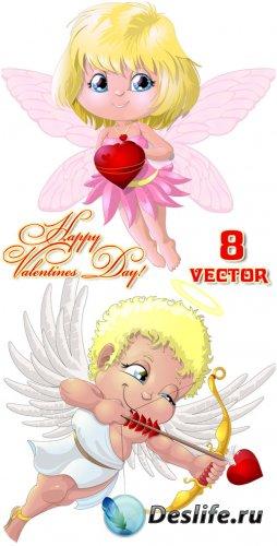 Ангелы, животные с сердцем, День святого Валентина - вектор