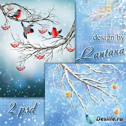 Многослойные фоны для фотошопа - В серебристом инее деревья