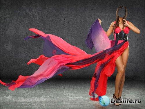 Костюм для девушек - Брюнетка в платье языки пламени