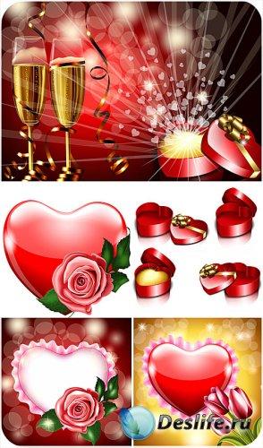 Шампанское и розы в день святого Валентина - вектор
