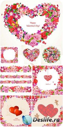Прекрасные цветы на день святого Валентина - вектор
