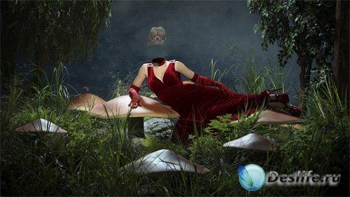 Костюм для фото - В сказочном мире в бордовом вечернем платье