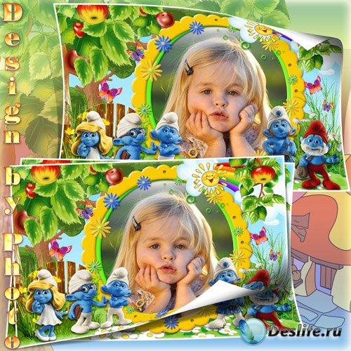Детская рамка для фото - Смурфики
