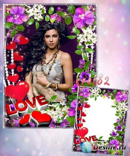Рамка для девушки с цветочками и сердечками