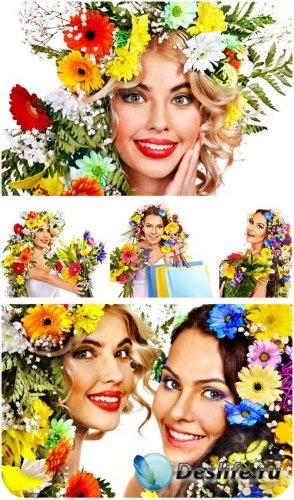 Девушки, цветы, цветочные венки - сток фото