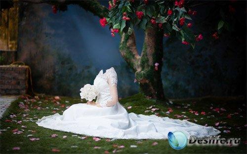 Под цветочным деревом в белом платье - костюм для фотомонтажа
